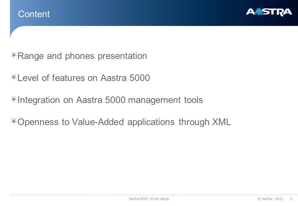 © Aastra – 2011 Aastra 67xxi range The phones 3 Aastra 5000 - 67xxi range
