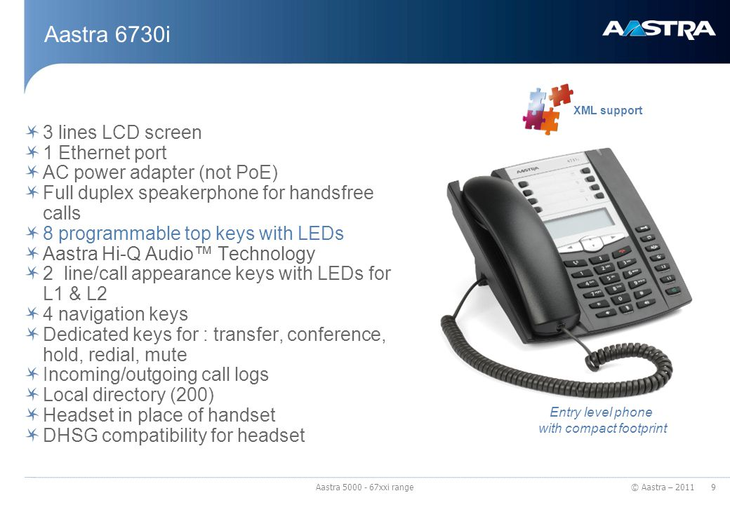 © Aastra – 2011 Aastra 6731i 3 lines LCD screen Built-in 2 ports Ethernet switch PoE (based on 802.3af standard), AC power adapter (optional equipment, not included) Full duplex speakerphone for handsfree calls 8 programmable top keys with LEDs Aastra Hi-Q Audio™ Technology 2 line/call appearance keys with LEDs for L1 & L2 4 navigation keys Dedicated keys for : transfer, conference, hold, redial, mute Incoming/outgoing call logs Local directory (200) Headset in place of handset DHSG compatibility for headset Green : differences with 6730i XML support 10 Aastra 5000 - 67xxi range Enhanced version of 6730i