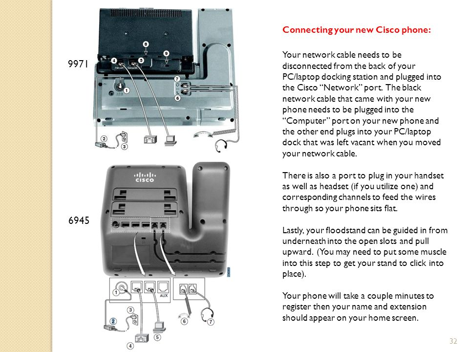 32 Connecting your new Cisco phone: Your network cable needs to be disconnected from the back of your PC/laptop docking station and plugged into the Cisco Network port.