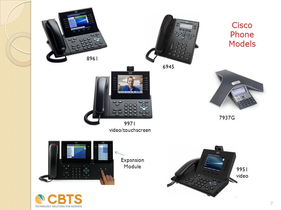 6945 8961 7937G Cisco Phone Models 7 9971 video/touchscreen 9951 video Expansion Module