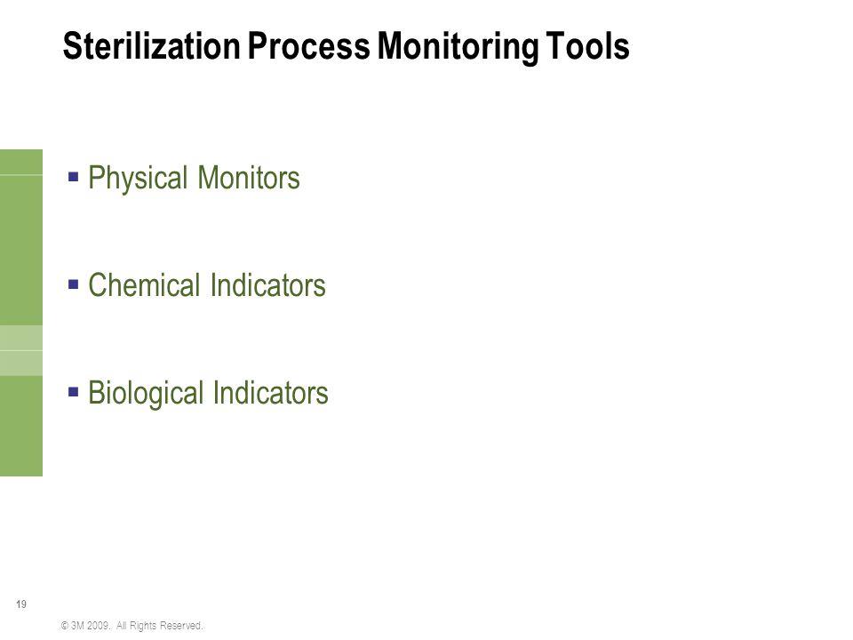 19 © 3M 2009. All Rights Reserved. Sterilization Process Monitoring Tools  Physical Monitors  Chemical Indicators  Biological Indicators