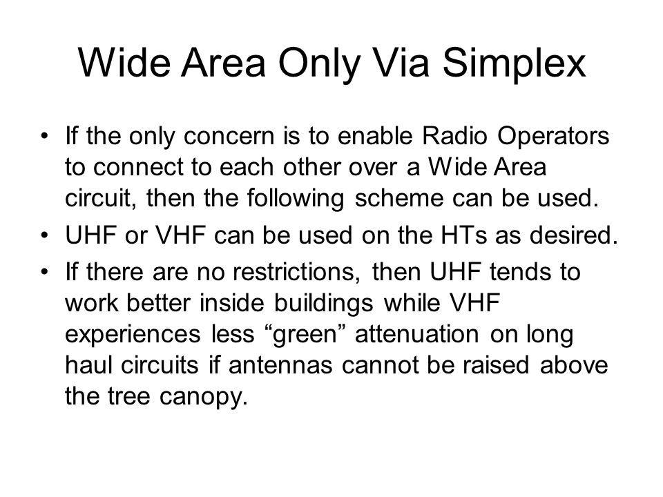 Wide Area Only Via Simplex If the only concern is to enable Radio Operators to connect to each other over a Wide Area circuit, then the following sche