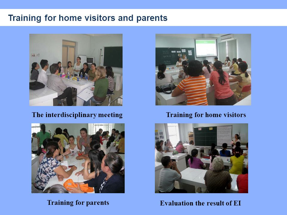 The interdisciplinary meeting Evaluation the result of EI Training for home visitors Training for parents Training for home visitors and parents
