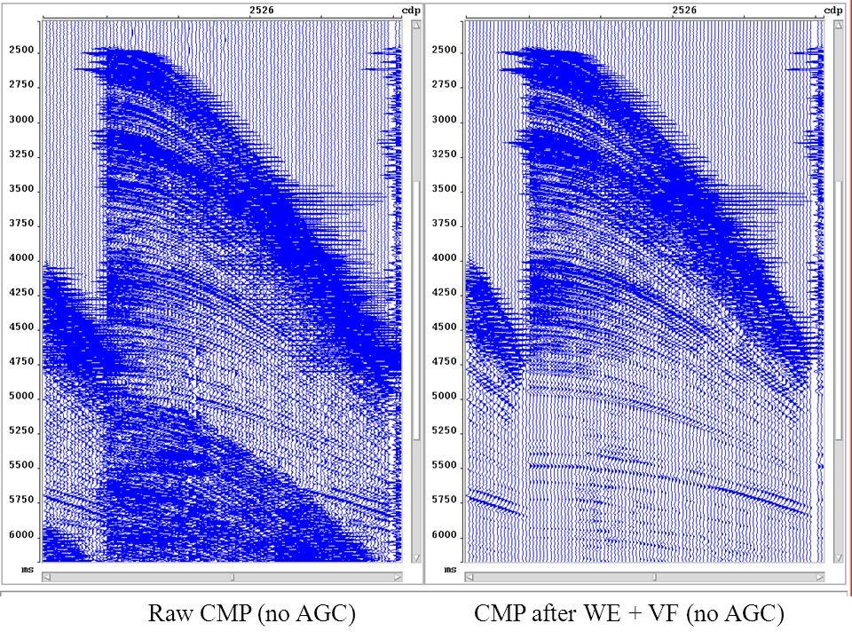 Raw CMP (no AGC) CMP after WE + VF (no AGC)