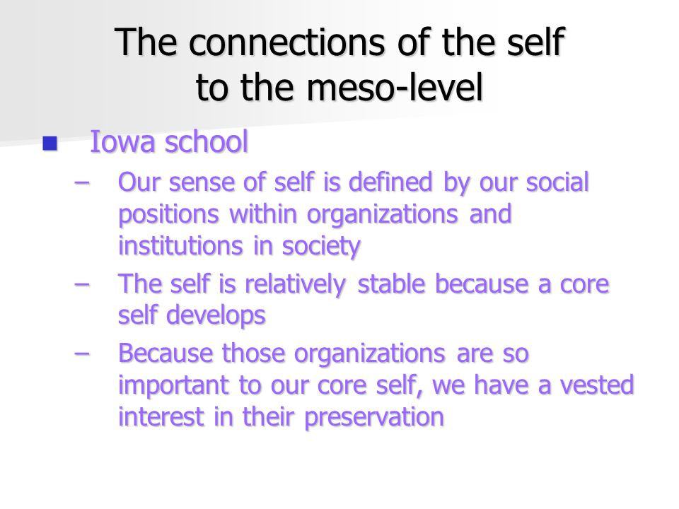 The connections of the self to the meso-level Iowa school Iowa school –Our sense of self is defined by our social positions within organizations and institutions in society –The self is relatively stable because a core self develops –Because those organizations are so important to our core self, we have a vested interest in their preservation