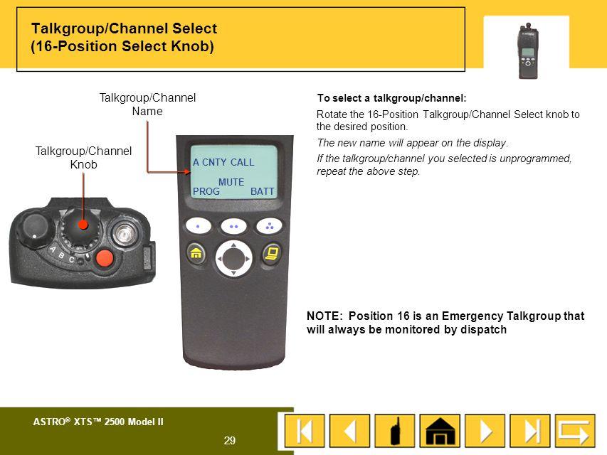 ASTRO ® XTS™ 2500 Model II 28 16-POSITION SELECT KNOB