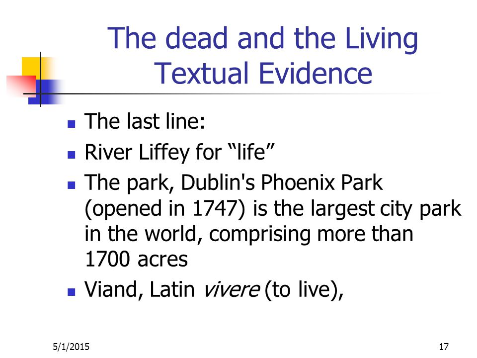 The dead and the Living Textual Evidence The last line: River Liffey for life The park, Dublin s Phoenix Park (opened in 1747) is the largest city park in the world, comprising more than 1700 acres Viand, Latin vivere (to live), 5/1/201517