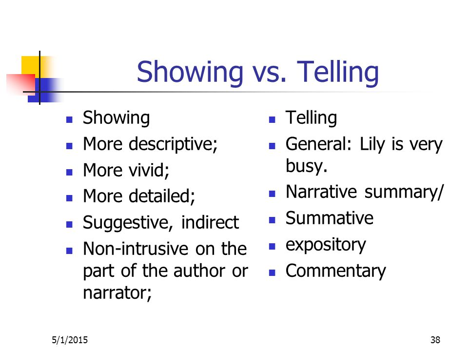Showing vs.