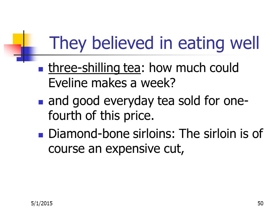 They believed in eating well three-shilling tea: how much could Eveline makes a week.