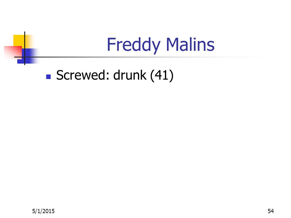 Freddy Malins Screwed: drunk (41) 5/1/201554