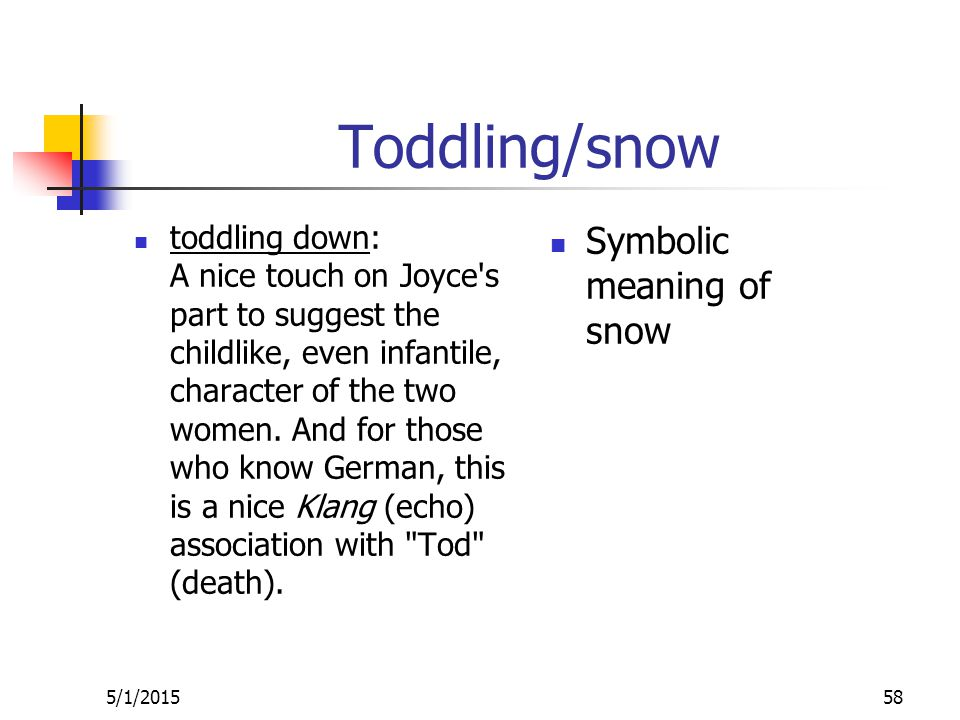 Toddling/snow toddling down: A nice touch on Joyce s part to suggest the childlike, even infantile, character of the two women.