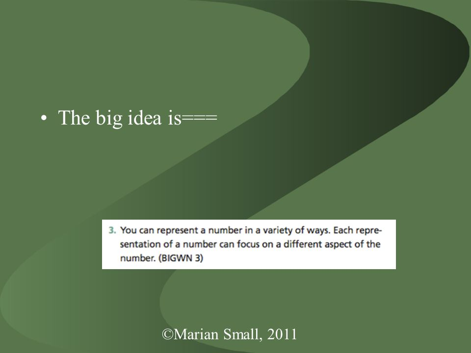 ©Marian Small, 2011 The big idea is===