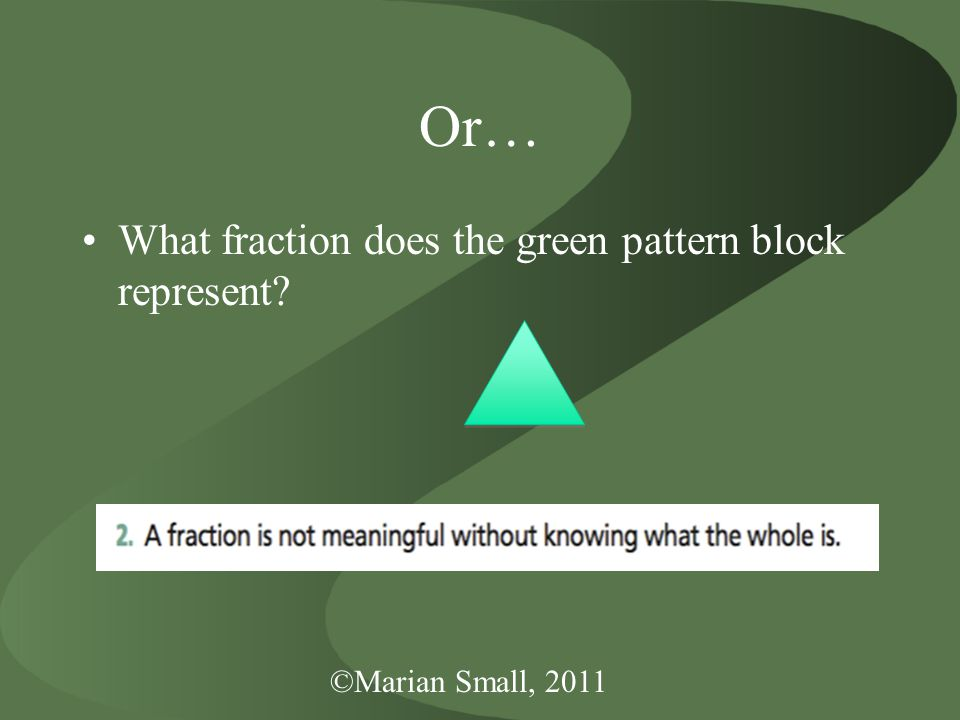 ©Marian Small, 2011 Or… What fraction does the green pattern block represent