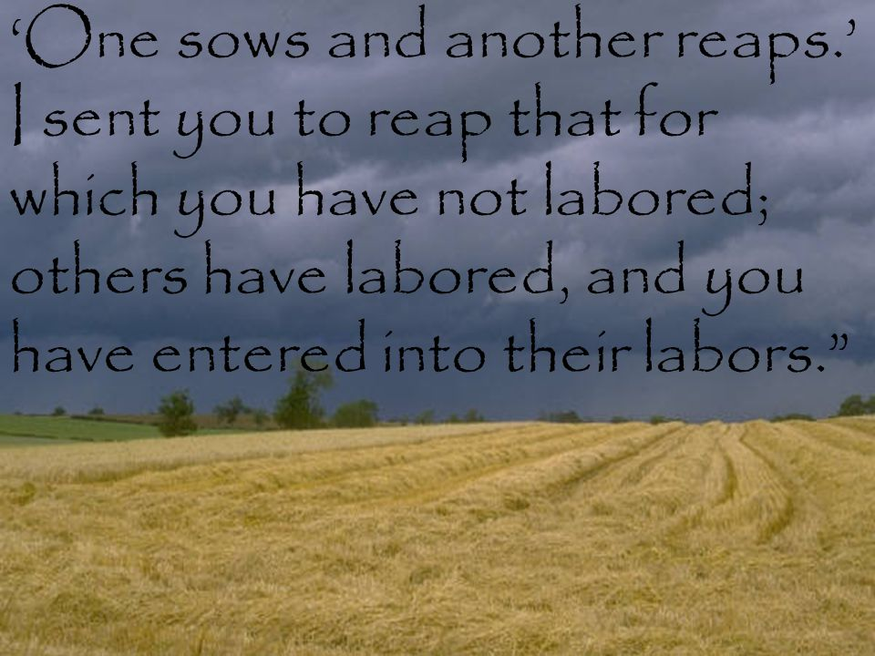 """'One sows and another reaps.' I sent you to reap that for which you have not labored; others have labored, and you have entered into their labors."""""""