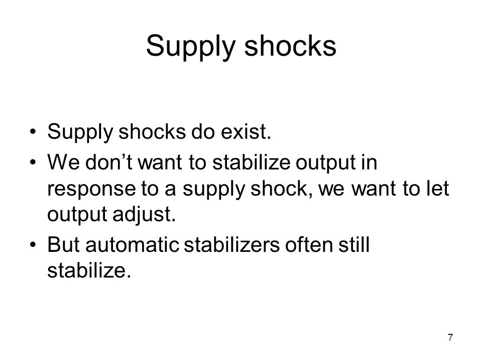 7 Supply shocks Supply shocks do exist. We don't want to stabilize output in response to a supply shock, we want to let output adjust. But automatic s