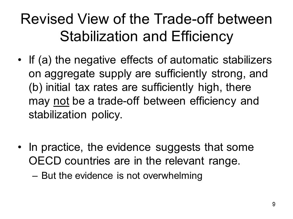 9 Revised View of the Trade-off between Stabilization and Efficiency If (a) the negative effects of automatic stabilizers on aggregate supply are suff