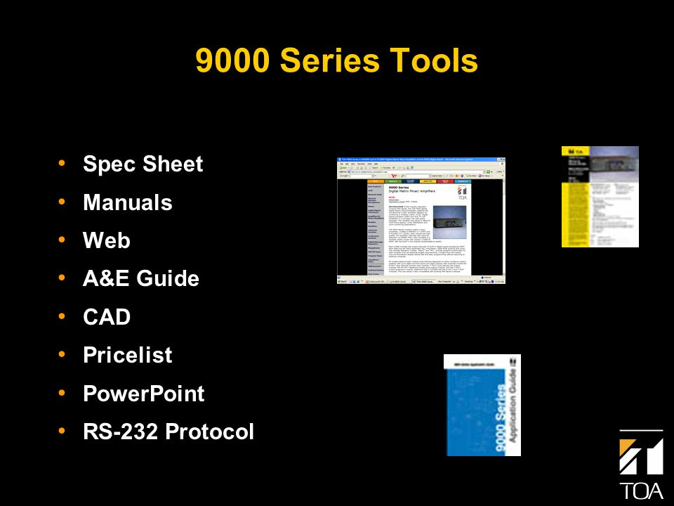 9000 Series Tools Spec Sheet Manuals Web A&E Guide CAD Pricelist PowerPoint RS-232 Protocol