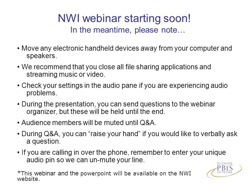 NWI webinar starting soon.