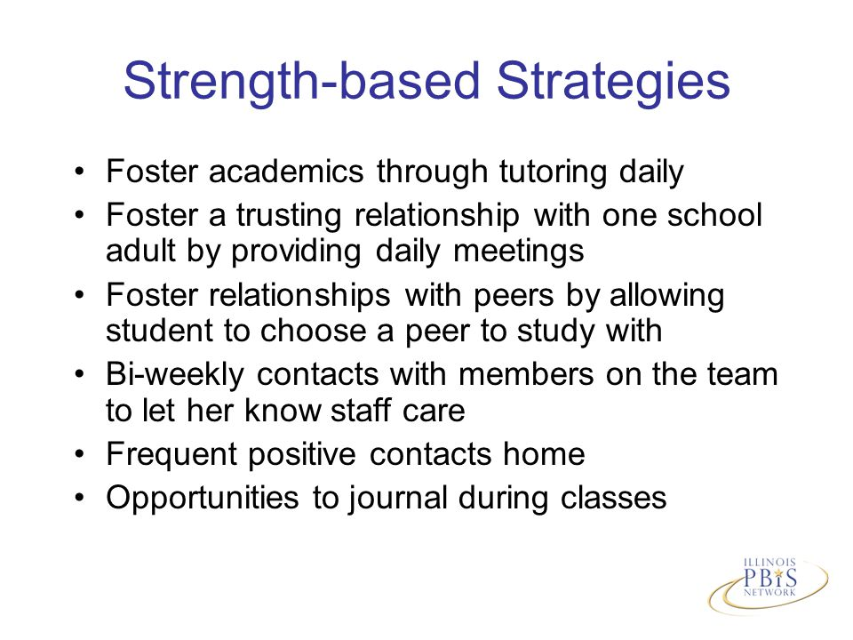 Strength-based Strategies Foster academics through tutoring daily Foster a trusting relationship with one school adult by providing daily meetings Foster relationships with peers by allowing student to choose a peer to study with Bi-weekly contacts with members on the team to let her know staff care Frequent positive contacts home Opportunities to journal during classes