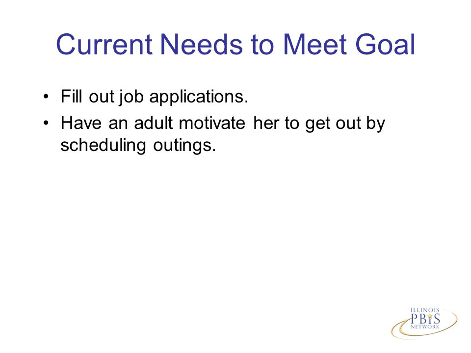 Current Needs to Meet Goal Fill out job applications.