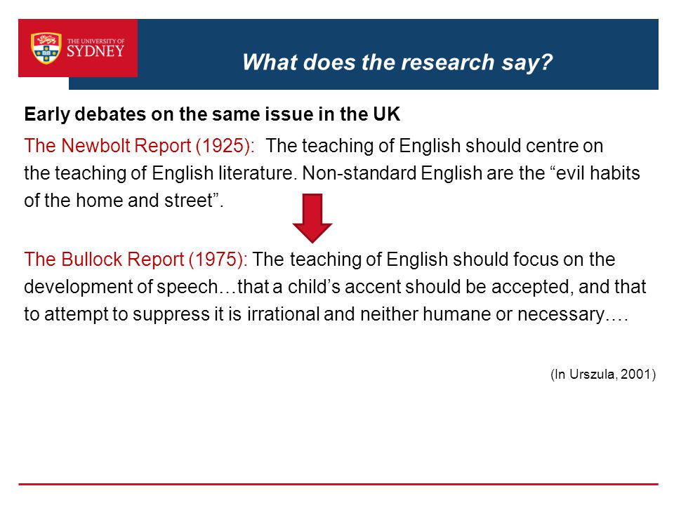 What does the research say? Early debates on the same issue in the UK The Newbolt Report (1925): The teaching of English should centre on the teaching