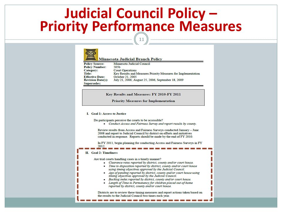 11 Judicial Council Policy – Priority Performance Measures