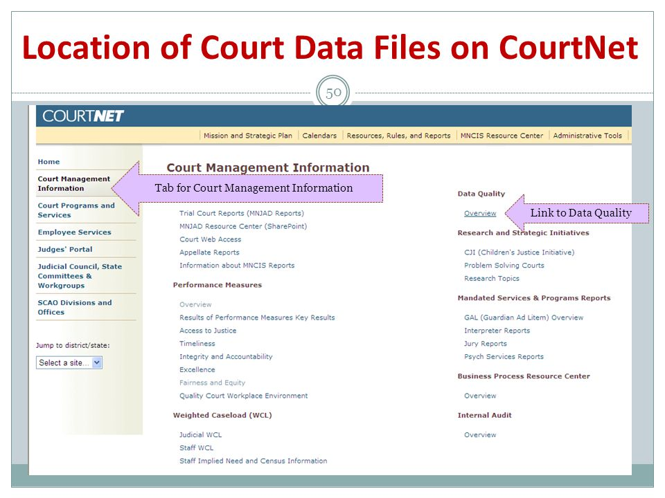 Location of Court Data Files on CourtNet 50 Tab for Court Management Information Link to Data Quality