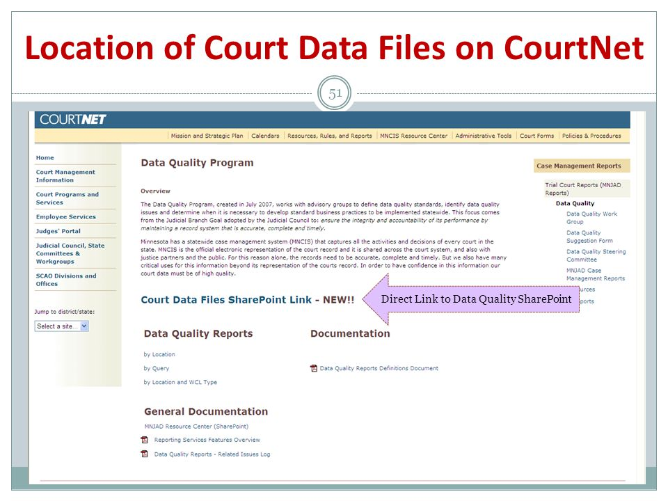 Location of Court Data Files on CourtNet 51 Direct Link to Data Quality SharePoint