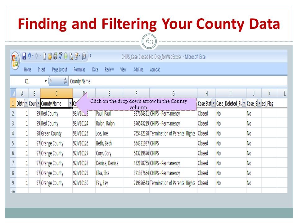 Finding and Filtering Your County Data 63 Click on the drop down arrow in the County column