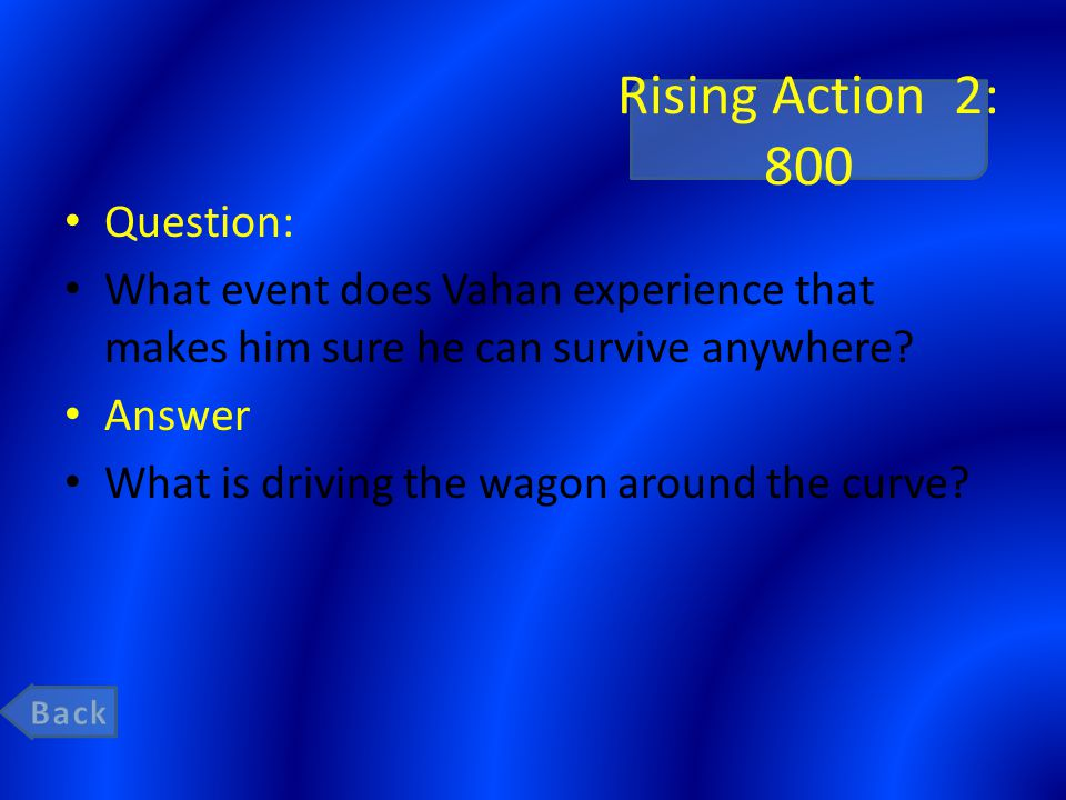 Rising Action 2: 800 Question: What event does Vahan experience that makes him sure he can survive anywhere.