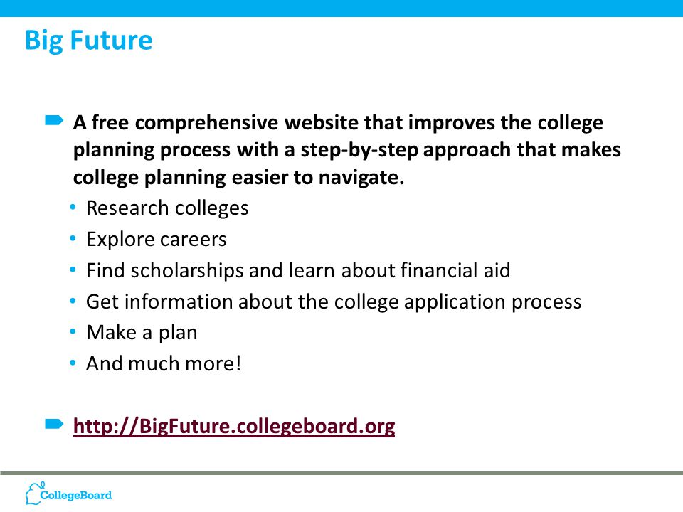 A free comprehensive website that improves the college planning process with a step-by-step approach that makes college planning easier to navigate.