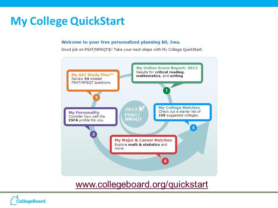 www.collegeboard.org/quickstart My College QuickStart