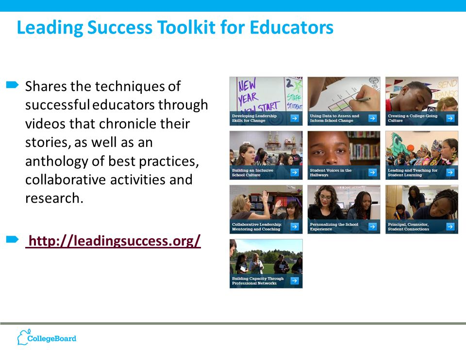  Shares the techniques of successful educators through videos that chronicle their stories, as well as an anthology of best practices, collaborative activities and research.