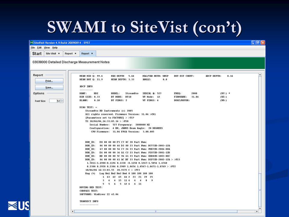 SWAMI to SiteVist (con't)
