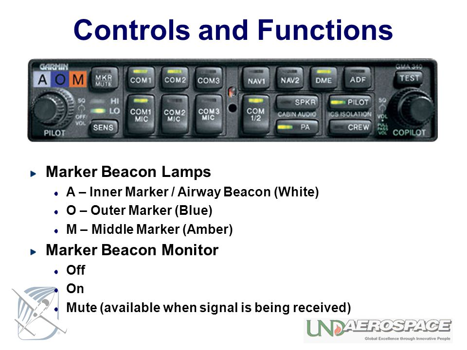 Controls and Functions Marker Beacon Lamps A – Inner Marker / Airway Beacon (White) O – Outer Marker (Blue) M – Middle Marker (Amber) Marker Beacon Mo