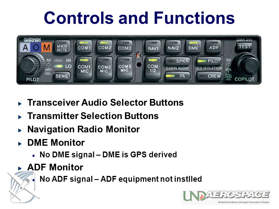 Controls and Functions Transceiver Audio Selector Buttons Transmitter Selection Buttons Navigation Radio Monitor DME Monitor No DME signal – DME is GP