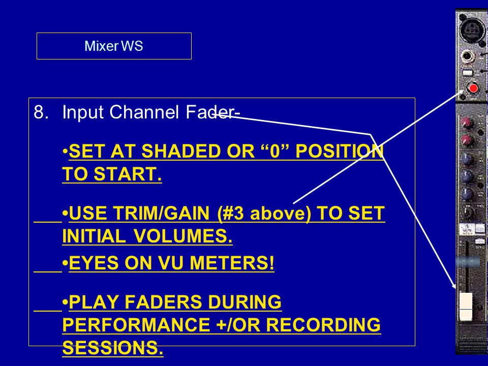 Mixer WS 8.Input Channel Fader- SET AT SHADED OR 0 POSITION TO START.