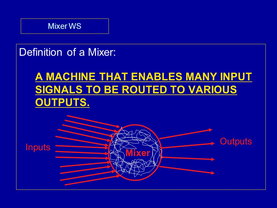 Mixer WS 9.Output Faders- -On most mixers these are found on the RIGHT SIDE of the board.
