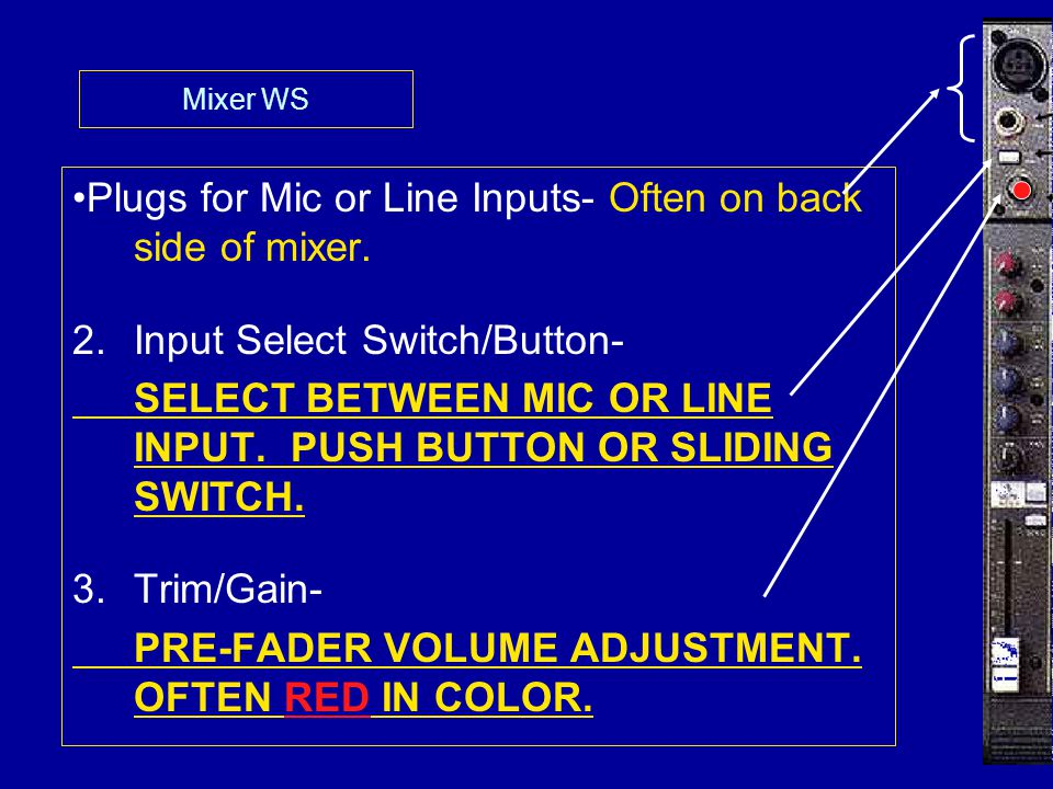 Plugs for Mic or Line Inputs- Often on back side of mixer. 2.Input Select Switch/Button- SELECT BETWEEN MIC OR LINE INPUT. PUSH BUTTON OR SLIDING SWIT
