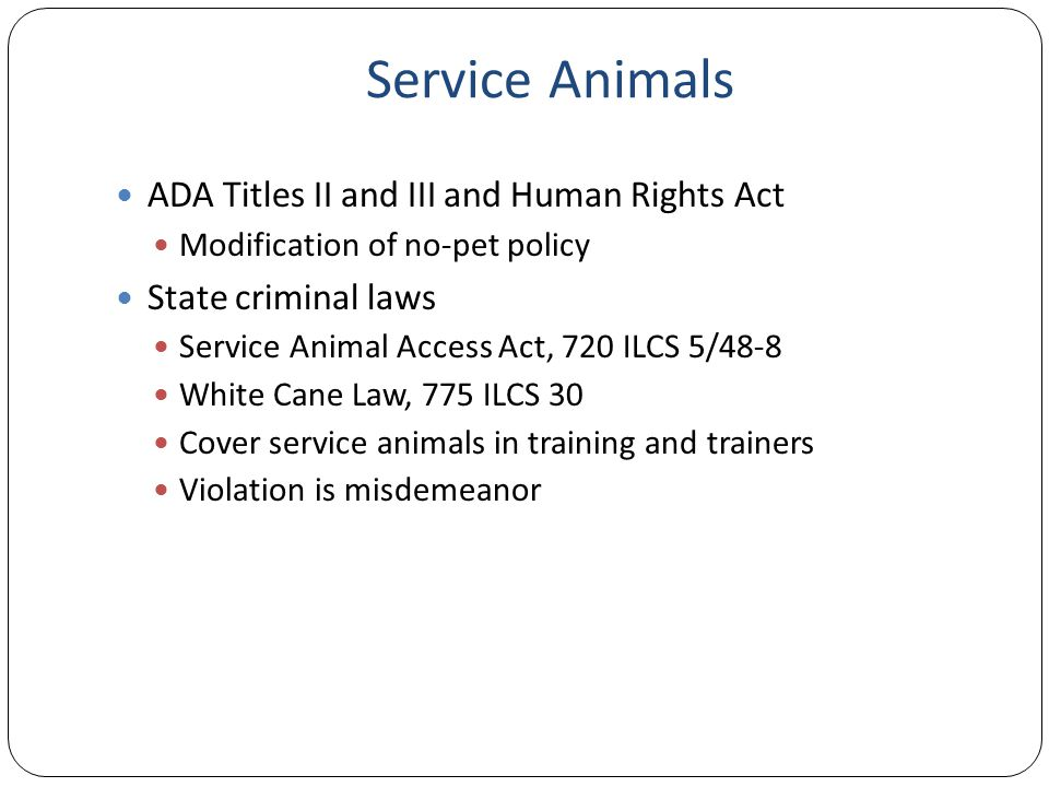 Service Animals ADA Titles II and III and Human Rights Act Modification of no-pet policy State criminal laws Service Animal Access Act, 720 ILCS 5/48-8 White Cane Law, 775 ILCS 30 Cover service animals in training and trainers Violation is misdemeanor
