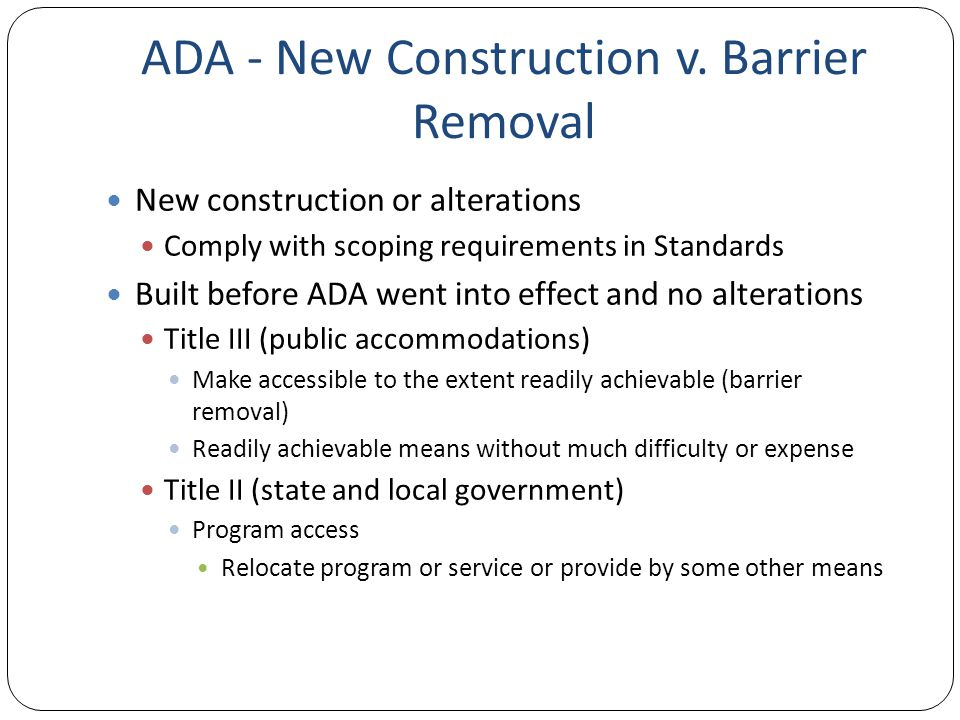 ADA - New Construction v.