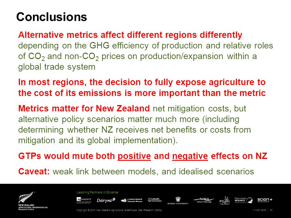 Leading Partners in Science Copyright © 2010 New Zealand Agricultural Greenhouse Gas Research Centre1 MAY 2015 |13 Alternative metrics affect different regions differently depending on the GHG efficiency of production and relative roles of CO 2 and non-CO 2 prices on production/expansion within a global trade system In most regions, the decision to fully expose agriculture to the cost of its emissions is more important than the metric Metrics matter for New Zealand net mitigation costs, but alternative policy scenarios matter much more (including determining whether NZ receives net benefits or costs from mitigation and its global implementation).