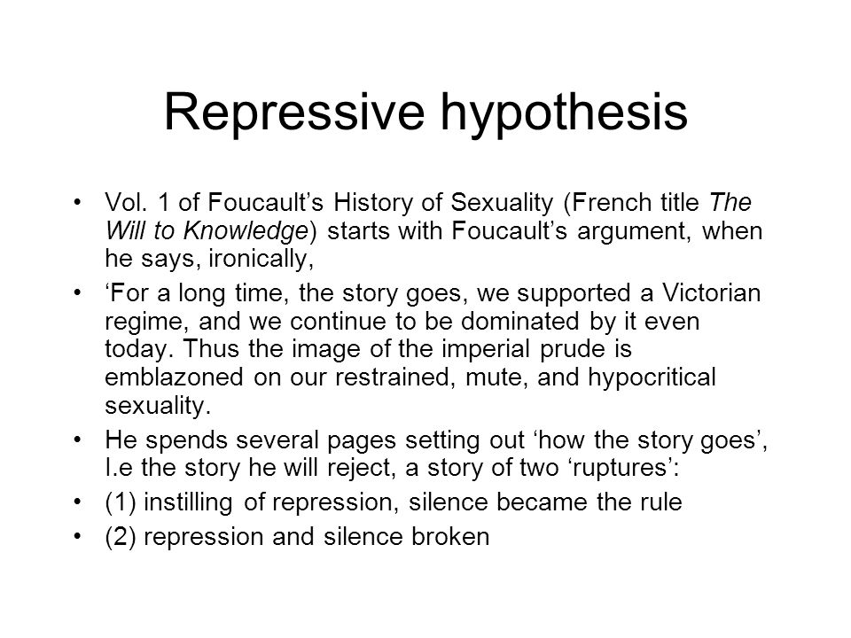 Repressive hypothesis Vol.