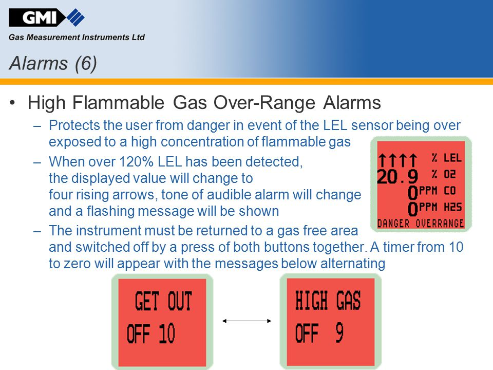 Alarms (6) High Flammable Gas Over-Range Alarms –Protects the user from danger in event of the LEL sensor being over exposed to a high concentration o