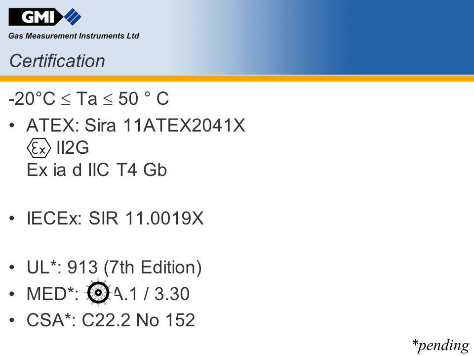 -20°C  Ta  50 ° C ATEX: Sira 11ATEX2041X II2G Ex ia d IIC T4 Gb IECEx: SIR 11.0019X UL*: 913 (7th Edition) MED*: => A.1 / 3.30 CSA*: C22.2 No 152 Ce