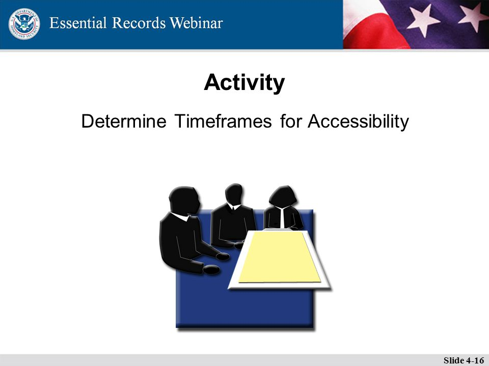 Activity Determine Timeframes for Accessibility Slide 4-16