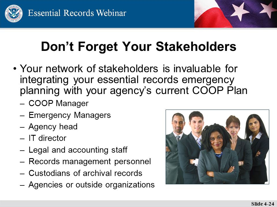 Don't Forget Your Stakeholders Your network of stakeholders is invaluable for integrating your essential records emergency planning with your agency's current COOP Plan –COOP Manager –Emergency Managers –Agency head –IT director –Legal and accounting staff –Records management personnel –Custodians of archival records –Agencies or outside organizations Slide 4-24