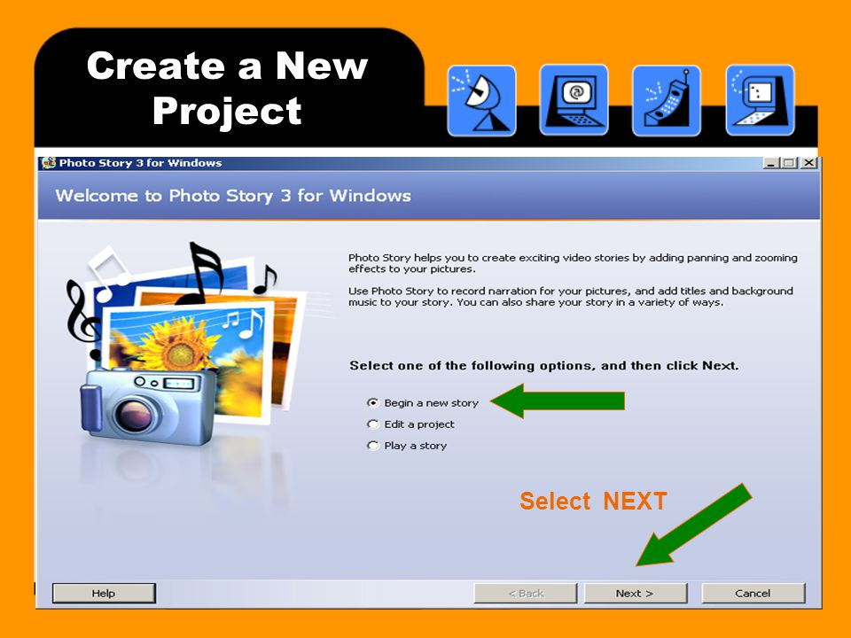 Create a New Project Select NEXT
