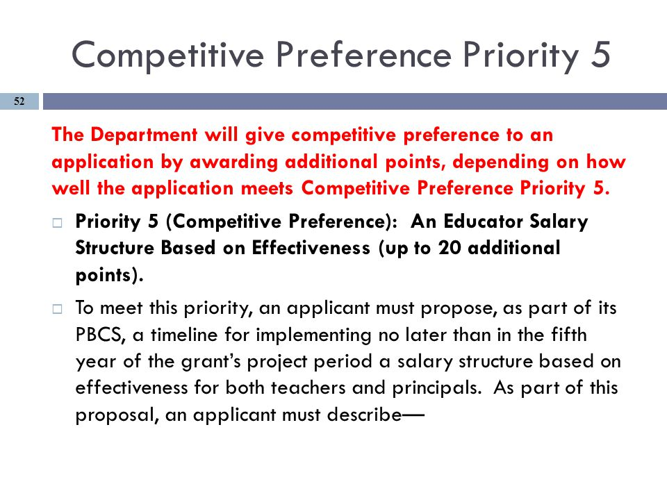 Competitive Preference Priority 5 The Department will give competitive preference to an application by awarding additional points, depending on how well the application meets Competitive Preference Priority 5.