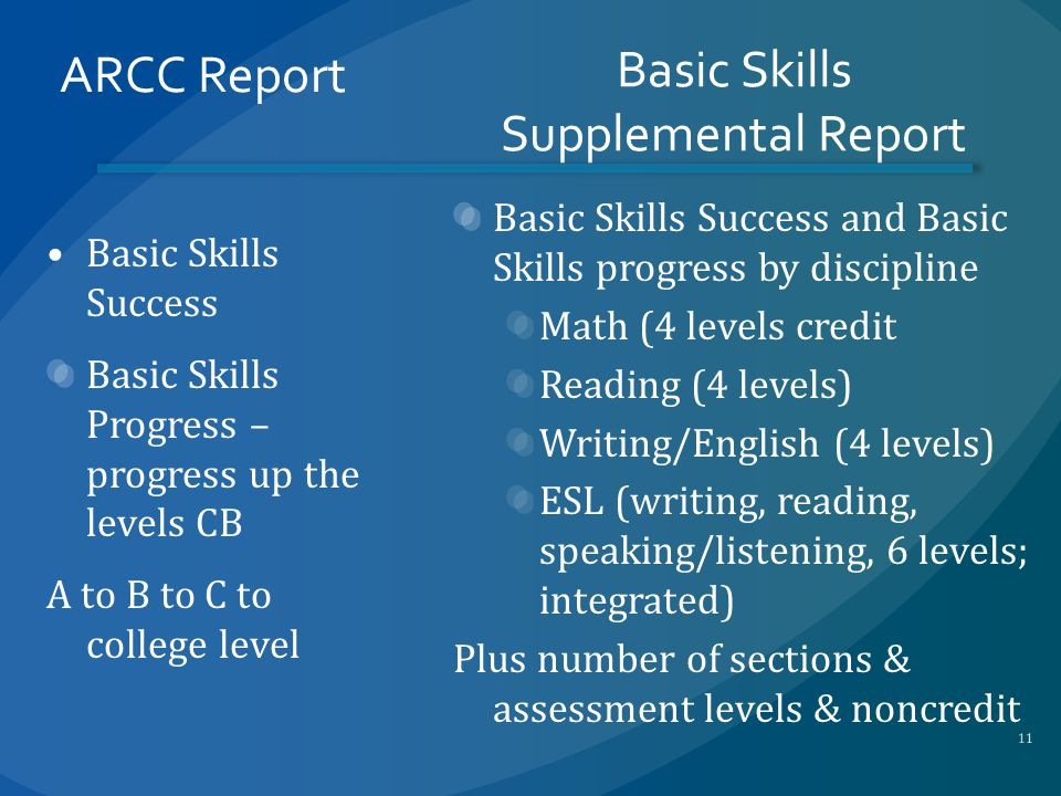 ARCC Report Basic Skills Success Basic Skills Progress – progress up the levels CB A to B to C to college level Basic Skills Supplemental Report Basic Skills Success and Basic Skills progress by discipline Math (4 levels credit Reading (4 levels) Writing/English (4 levels) ESL (writing, reading, speaking/listening, 6 levels; integrated) Plus number of sections & assessment levels & noncredit 11